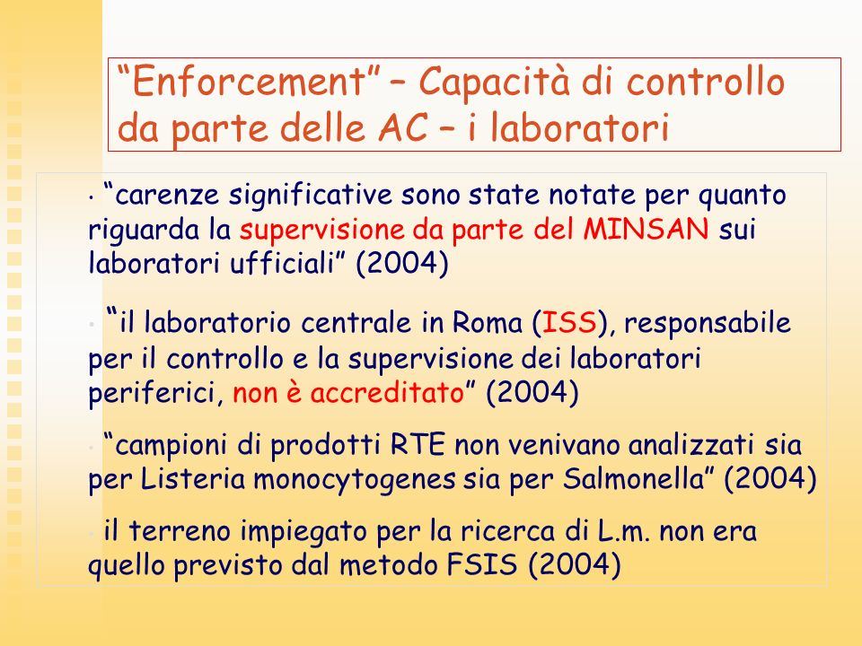 Enforcement – Capacità di controllo da parte delle AC – i laboratori
