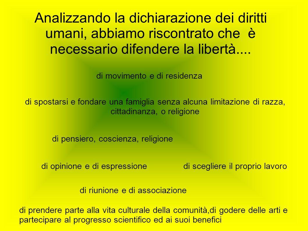 Analizzando la dichiarazione dei diritti umani, abbiamo riscontrato che è necessario difendere la libertà....