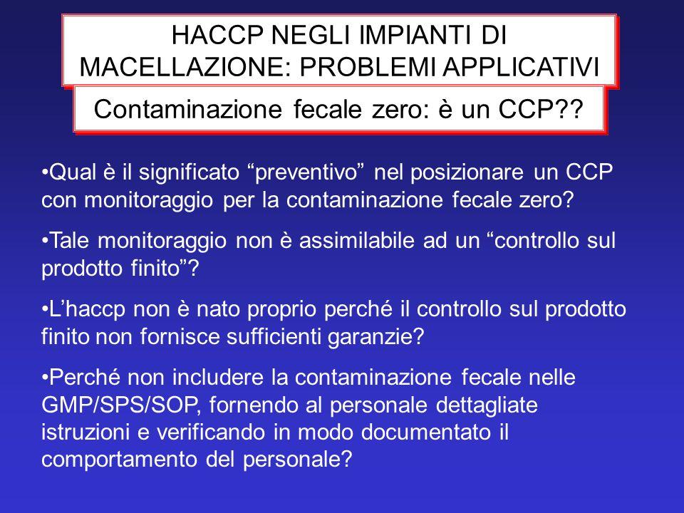 HACCP NEGLI IMPIANTI DI MACELLAZIONE: PROBLEMI APPLICATIVI