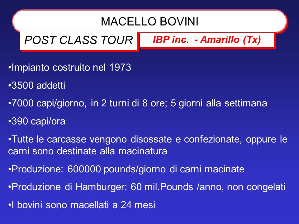 MACELLO BOVINI POST CLASS TOUR IBP inc. - Amarillo (Tx)