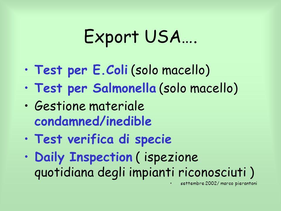 Export USA…. Test per E.Coli (solo macello)