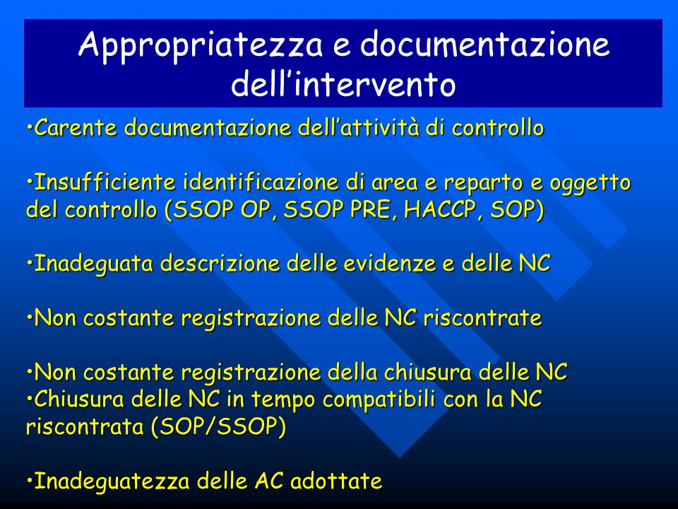 Appropriatezza e documentazione dell'intervento