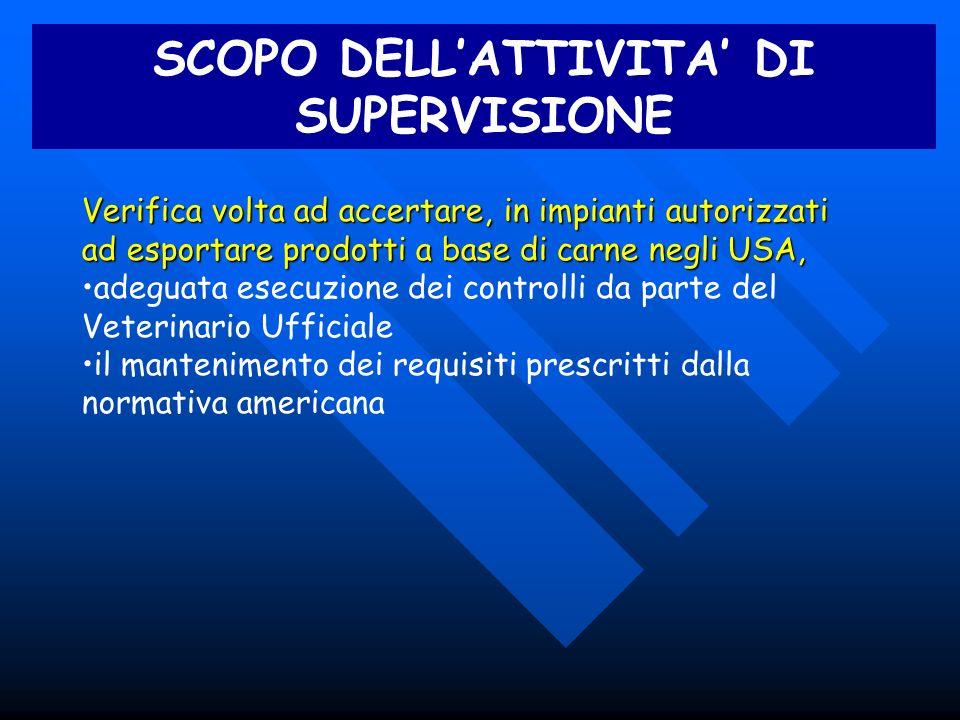 SCOPO DELL'ATTIVITA' DI SUPERVISIONE