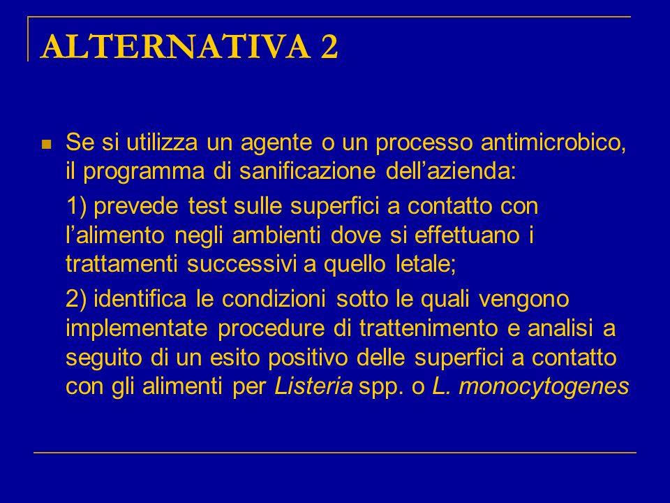 ALTERNATIVA 2 Se si utilizza un agente o un processo antimicrobico, il programma di sanificazione dell'azienda: