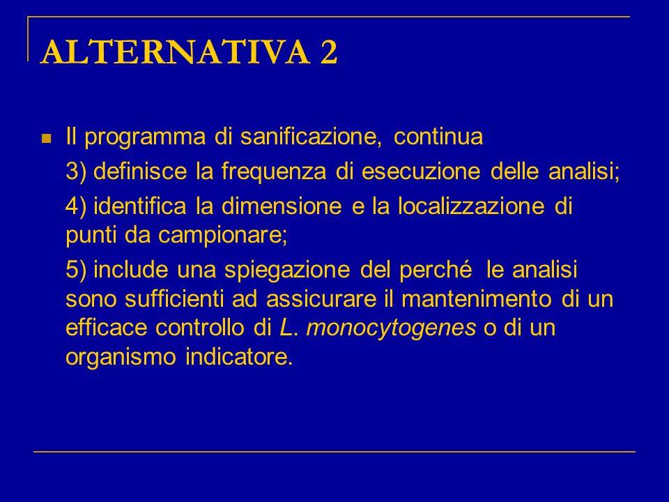 ALTERNATIVA 2 Il programma di sanificazione, continua