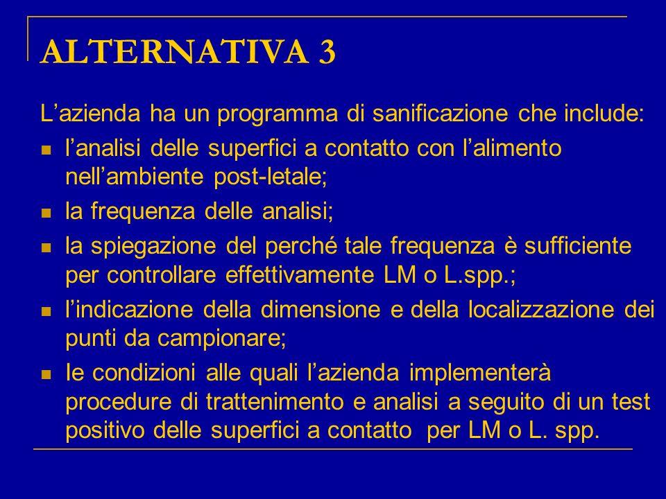 ALTERNATIVA 3 L'azienda ha un programma di sanificazione che include: