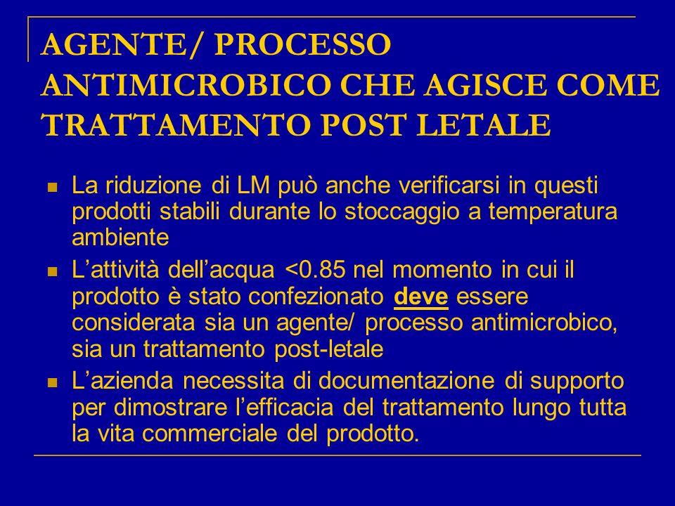 AGENTE/ PROCESSO ANTIMICROBICO CHE AGISCE COME TRATTAMENTO POST LETALE