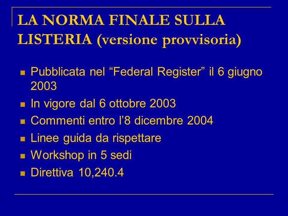 LA NORMA FINALE SULLA LISTERIA (versione provvisoria)