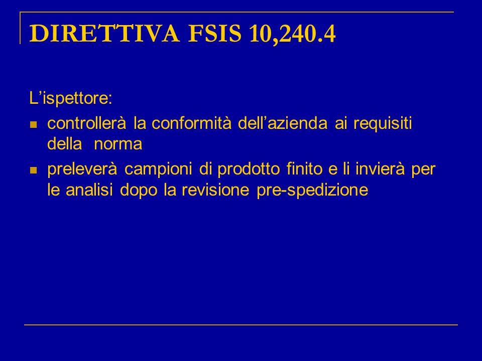 DIRETTIVA FSIS 10,240.4 L'ispettore:
