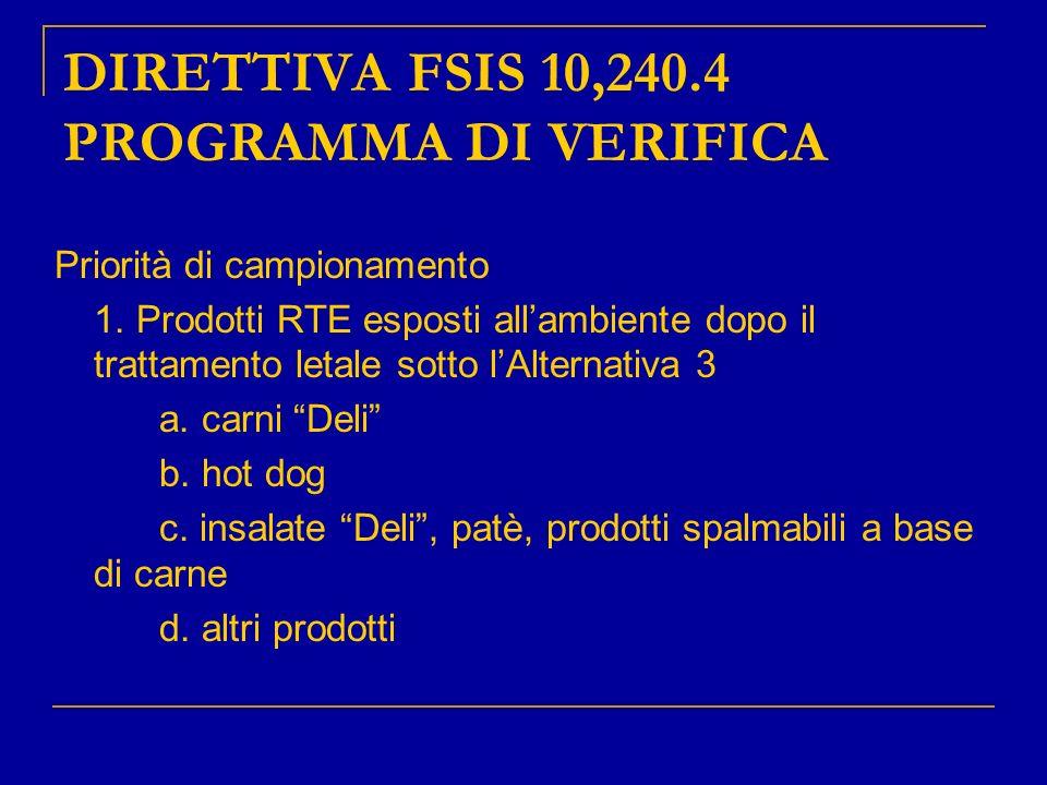 DIRETTIVA FSIS 10,240.4 PROGRAMMA DI VERIFICA