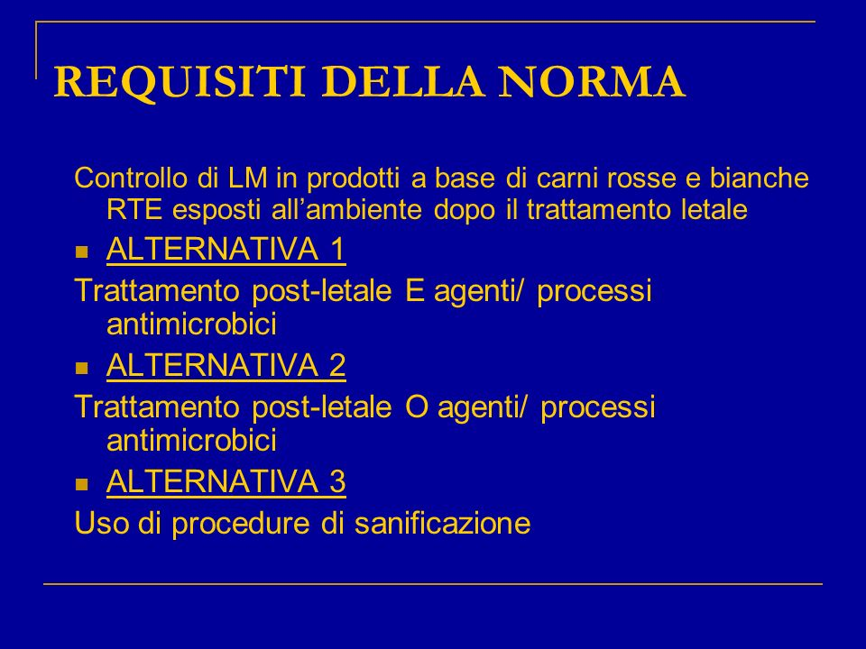 REQUISITI DELLA NORMA ALTERNATIVA 1