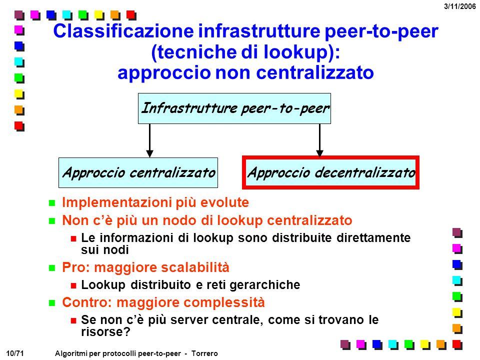 Classificazione infrastrutture peer-to-peer (tecniche di lookup): approccio non centralizzato