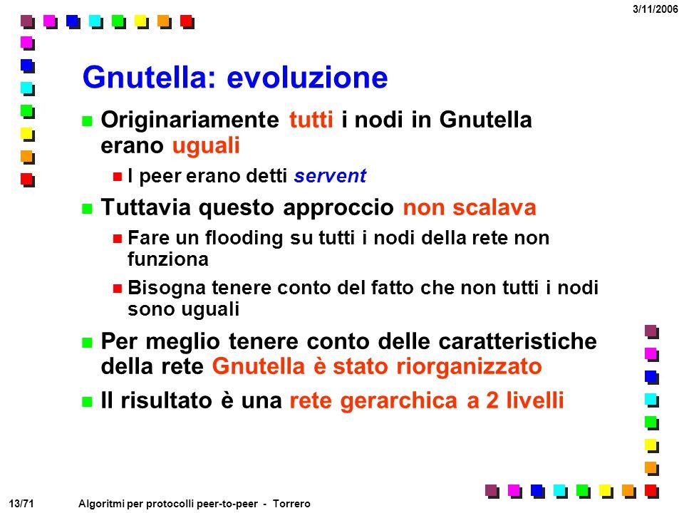 Gnutella: evoluzione Originariamente tutti i nodi in Gnutella erano uguali. I peer erano detti servent.