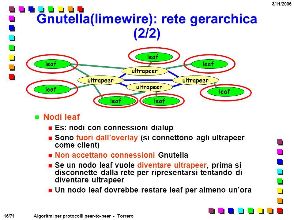 Gnutella(limewire): rete gerarchica (2/2)