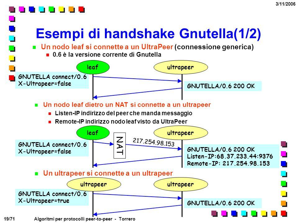 Esempi di handshake Gnutella(1/2)