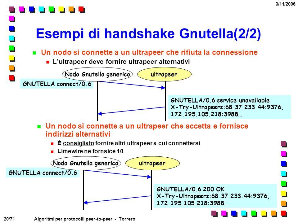 Esempi di handshake Gnutella(2/2)