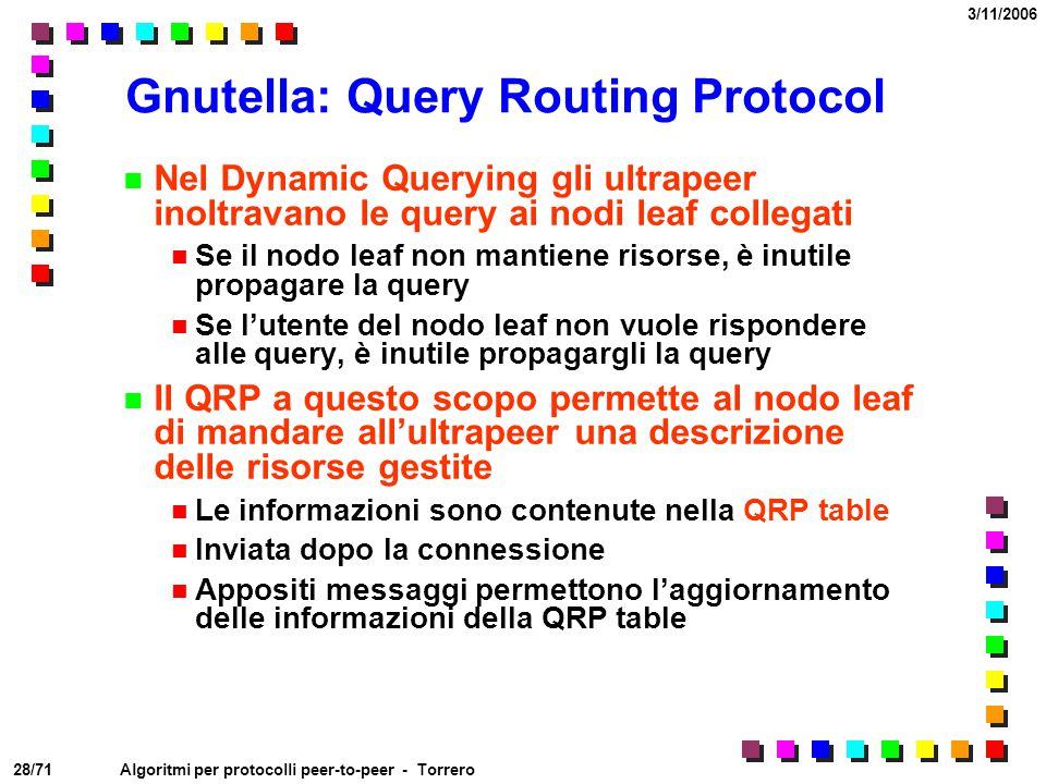 Gnutella: Query Routing Protocol