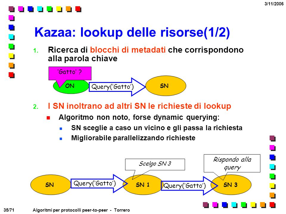 Kazaa: lookup delle risorse(1/2)