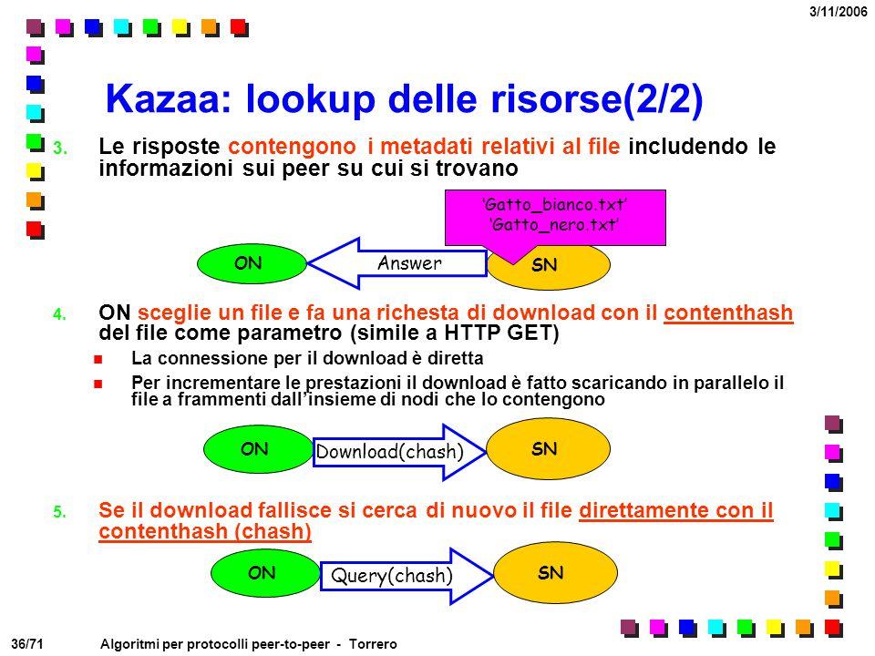 Kazaa: lookup delle risorse(2/2)