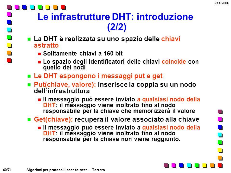 Le infrastrutture DHT: introduzione (2/2)