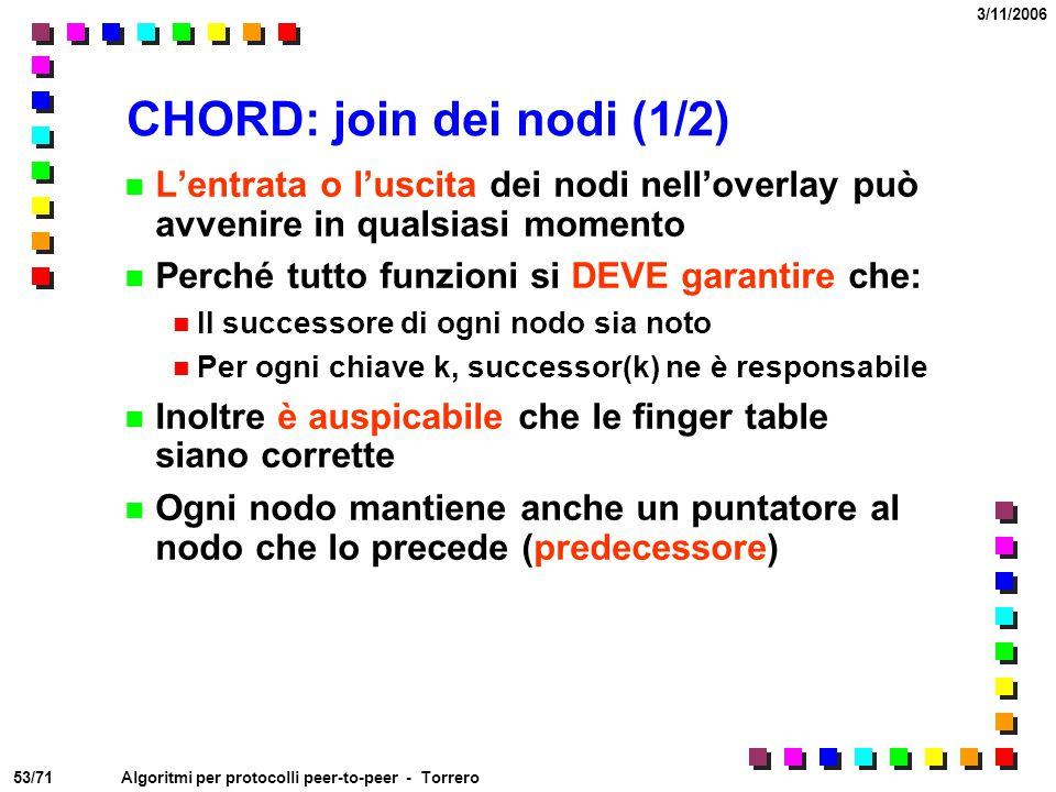 CHORD: join dei nodi (1/2)