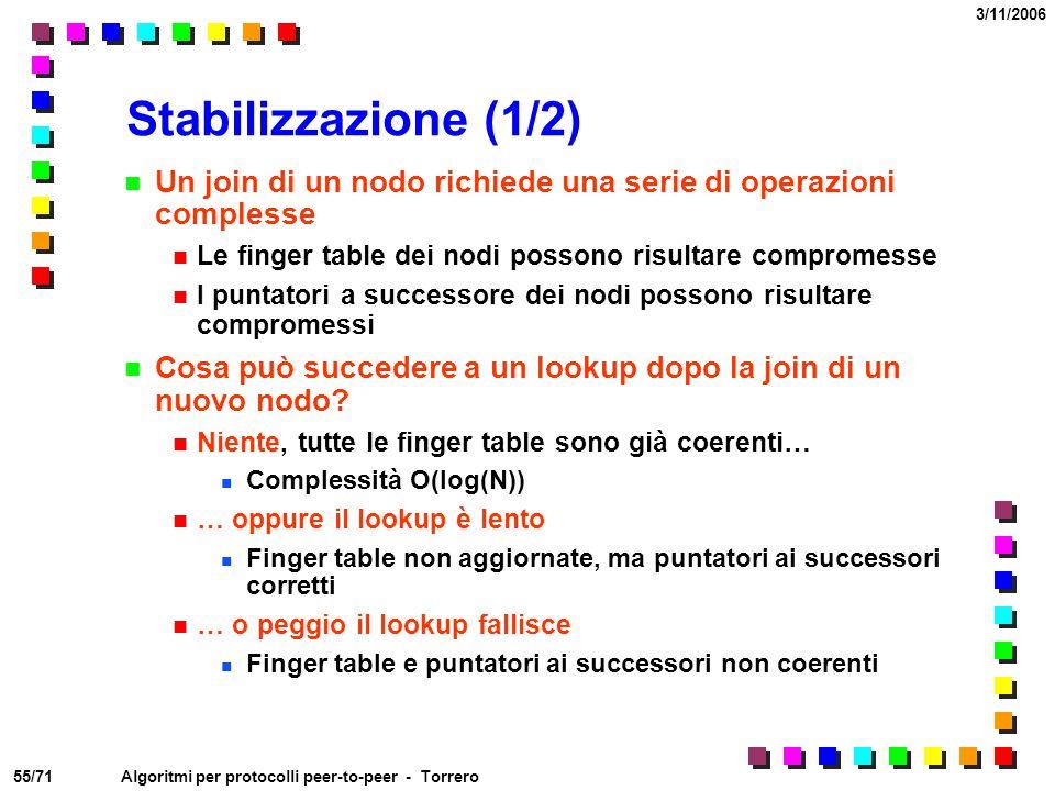 Stabilizzazione (1/2) Un join di un nodo richiede una serie di operazioni complesse. Le finger table dei nodi possono risultare compromesse.