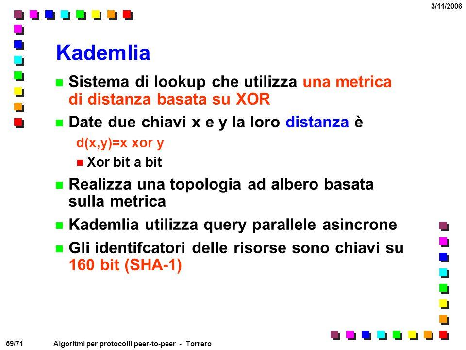 Kademlia Sistema di lookup che utilizza una metrica di distanza basata su XOR. Date due chiavi x e y la loro distanza è.
