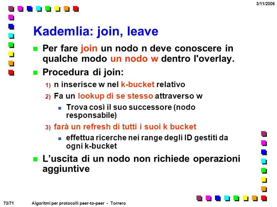 Kademlia: join, leave Per fare join un nodo n deve conoscere in qualche modo un nodo w dentro l overlay.