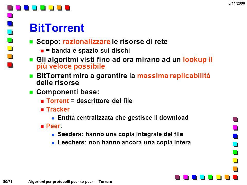 BitTorrent Scopo: razionalizzare le risorse di rete