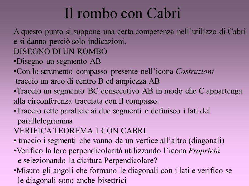 Il rombo con Cabri A questo punto si suppone una certa competenza nell'utilizzo di Cabri. e si danno perciò solo indicazioni.