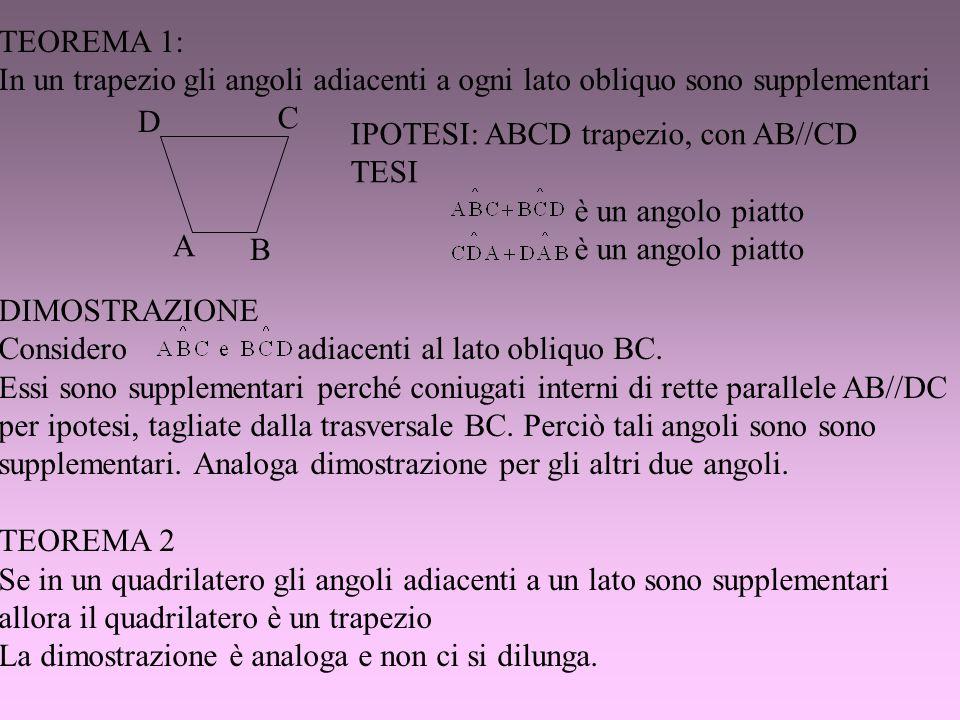TEOREMA 1:In un trapezio gli angoli adiacenti a ogni lato obliquo sono supplementari. DIMOSTRAZIONE.