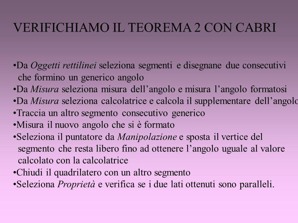 VERIFICHIAMO IL TEOREMA 2 CON CABRI