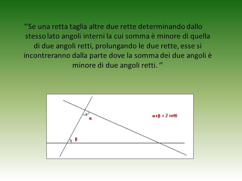 ''Se una retta taglia altre due rette determinando dallo stesso lato angoli interni la cui somma è minore di quella di due angoli retti, prolungando le due rette, esse si incontreranno dalla parte dove la somma dei due angoli è minore di due angoli retti.