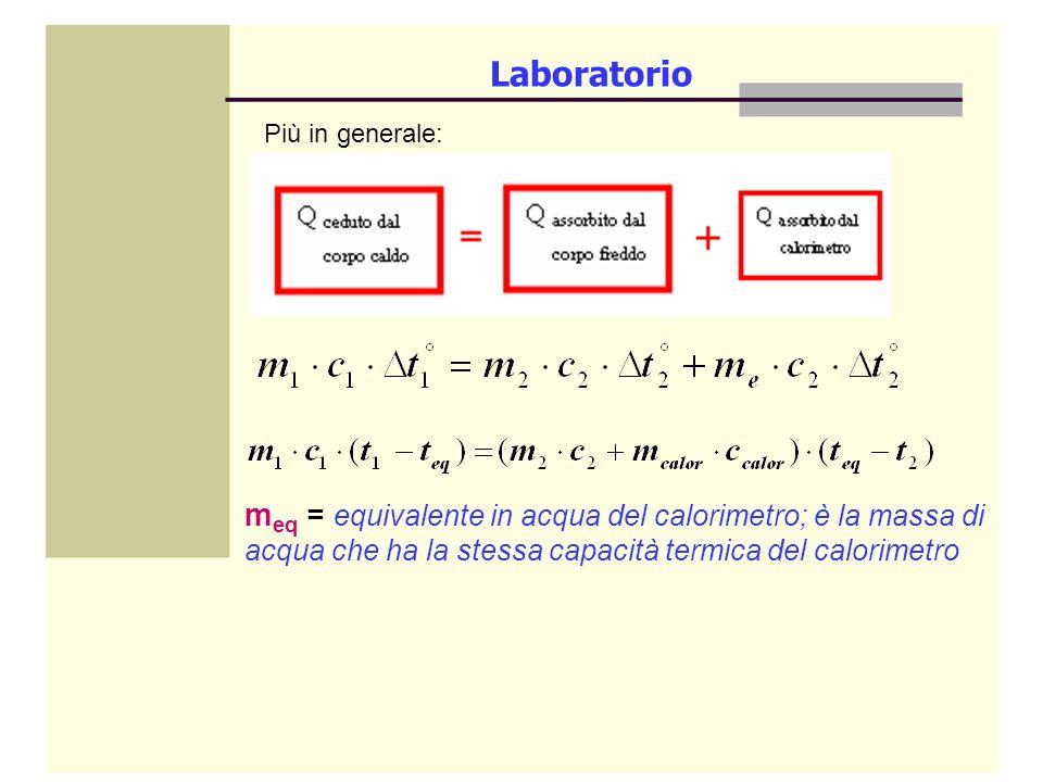 Laboratorio Più in generale: meq = equivalente in acqua del calorimetro; è la massa di acqua che ha la stessa capacità termica del calorimetro.