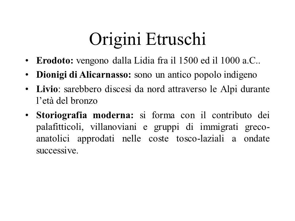 Origini Etruschi Erodoto: vengono dalla Lidia fra il 1500 ed il 1000 a.C.. Dionigi di Alicarnasso: sono un antico popolo indigeno.