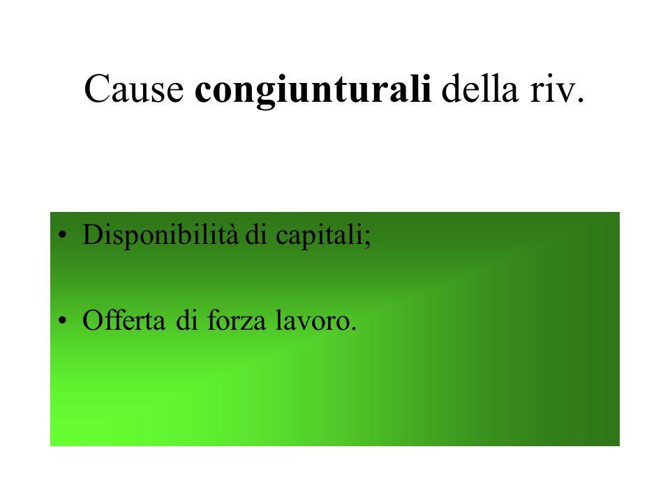 Cause congiunturali della riv.