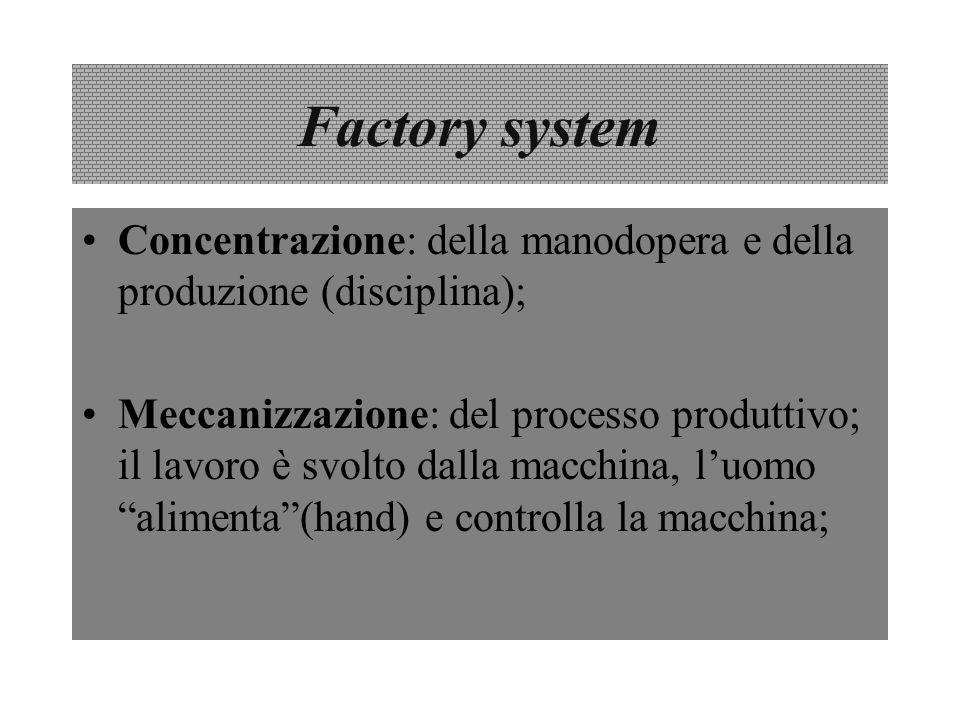 Factory system Concentrazione: della manodopera e della produzione (disciplina);