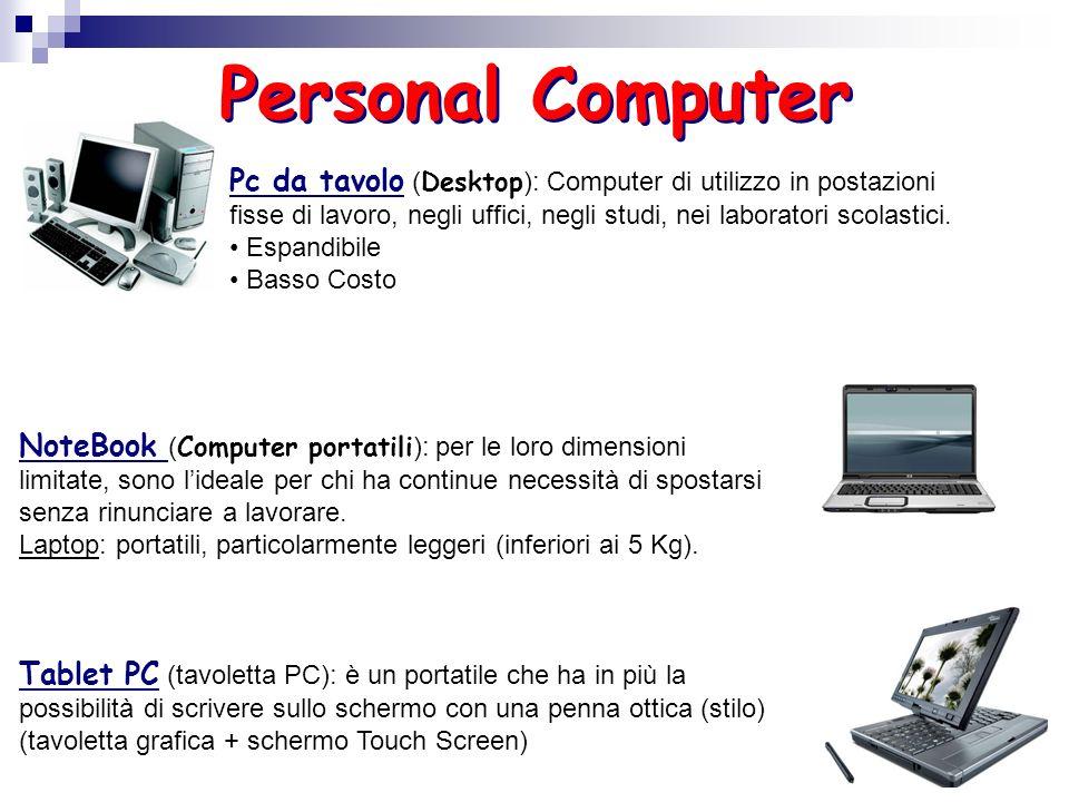 Personal Computer Pc da tavolo (Desktop): Computer di utilizzo in postazioni fisse di lavoro, negli uffici, negli studi, nei laboratori scolastici.