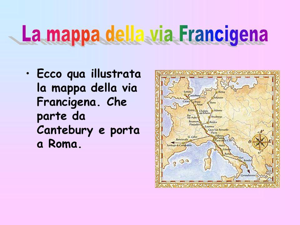 La mappa della via Francigena
