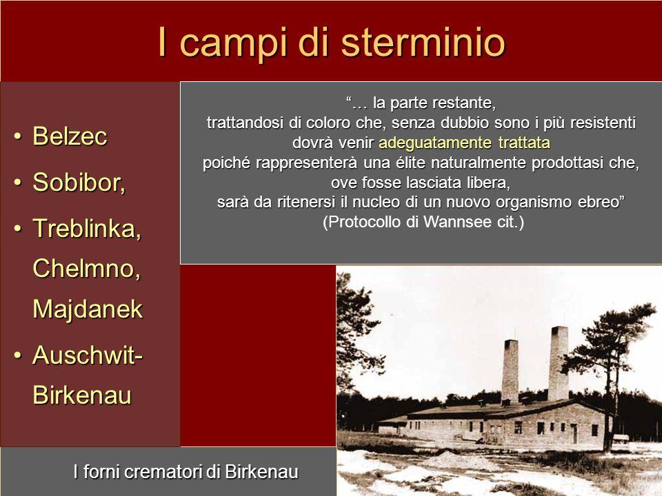 I campi di sterminio I forni crematori di Birkenau Belzec Sobibor,