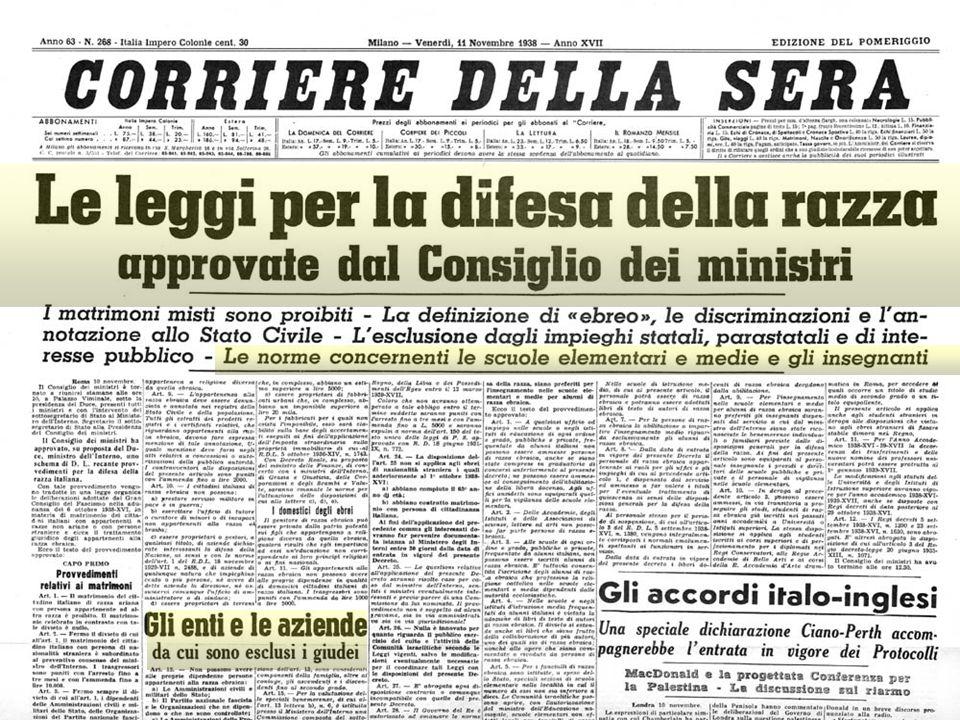 negazione diritti civili pogrom leggi razziali in Germania e Italia