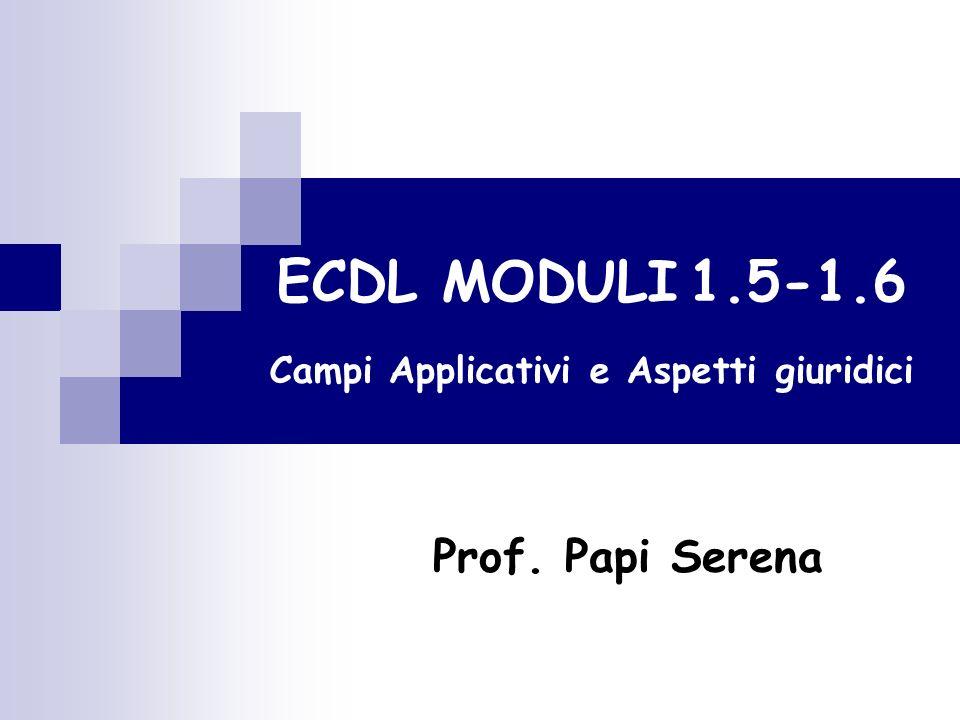 ECDL MODULI 1.5-1.6 Campi Applicativi e Aspetti giuridici