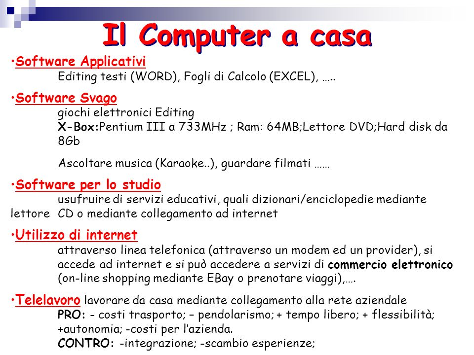 Il Computer a casa Software Applicativi Software Svago
