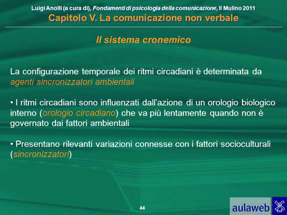Il sistema cronemico La configurazione temporale dei ritmi circadiani è determinata da agenti sincronizzatori ambientali.