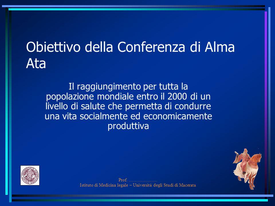 Obiettivo della Conferenza di Alma Ata