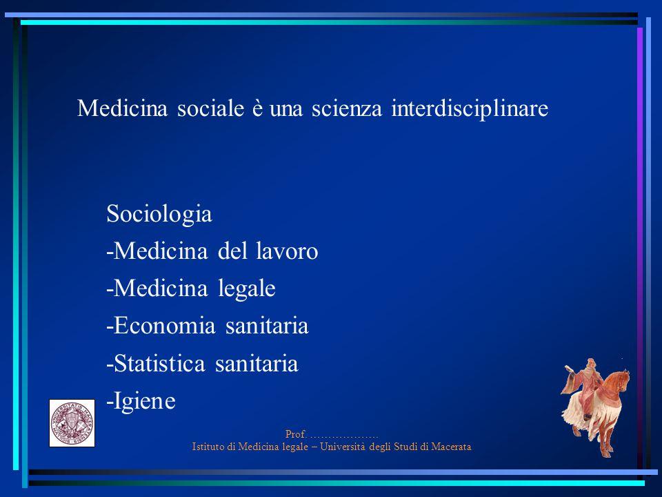 Medicina sociale è una scienza interdisciplinare