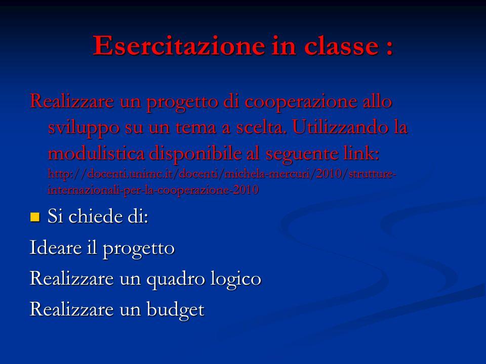 Esercitazione in classe :