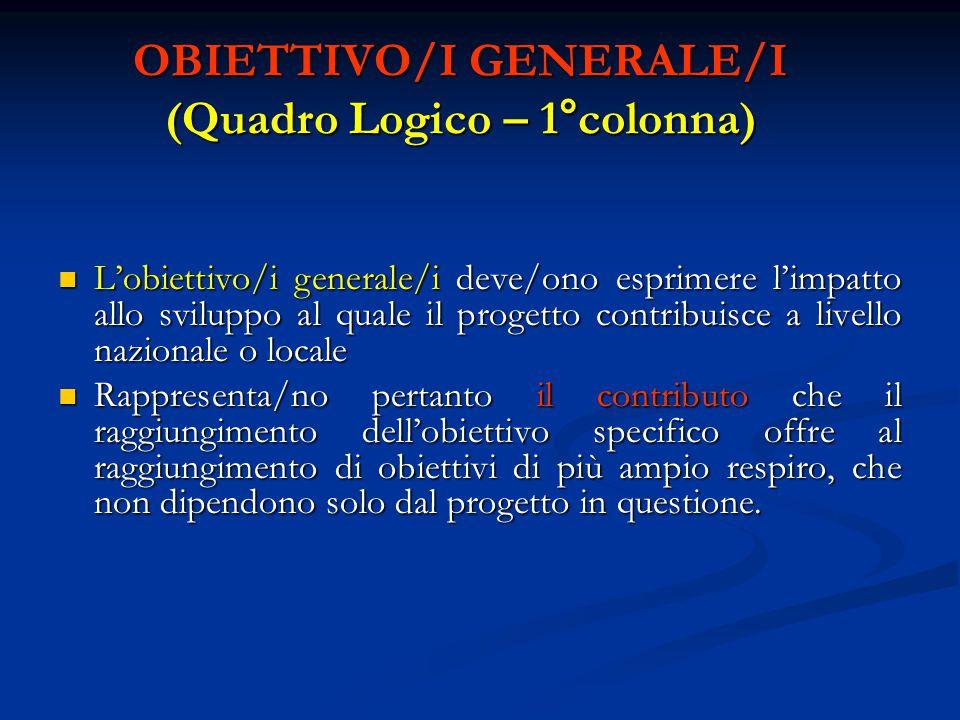 OBIETTIVO/I GENERALE/I (Quadro Logico – 1°colonna)