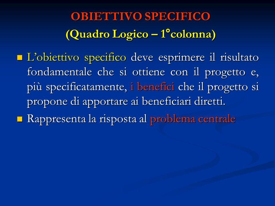 OBIETTIVO SPECIFICO (Quadro Logico – 1°colonna)
