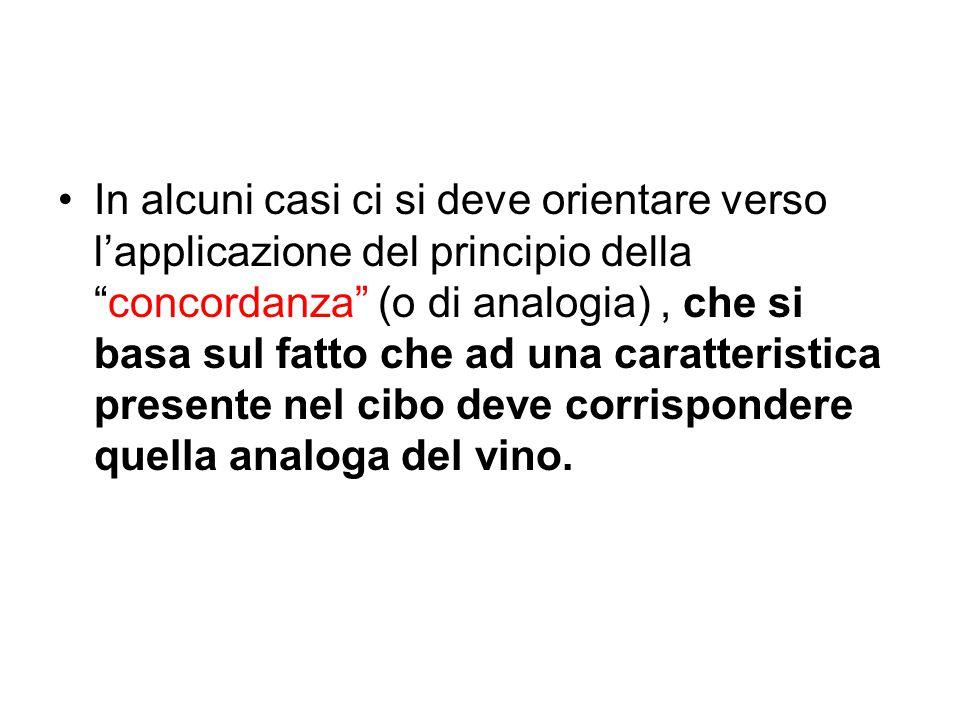 In alcuni casi ci si deve orientare verso l'applicazione del principio della concordanza (o di analogia) , che si basa sul fatto che ad una caratteristica presente nel cibo deve corrispondere quella analoga del vino.